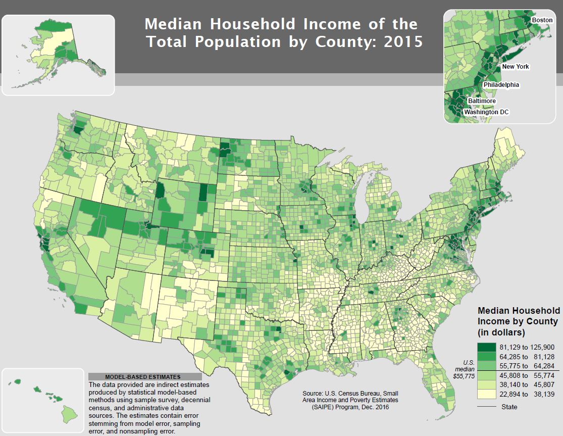 Census Bureau Richest Counties In US Are Suburbs Of DC - Map of most democratic counties in us