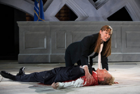 Image result for trump stabbed  theatre