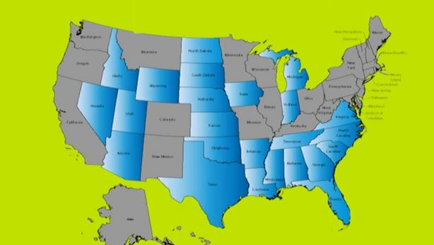 Right To Work States Vs Union States Map.Right To Work States Hold 2 1 Job Growth Advantage Over Forced Union