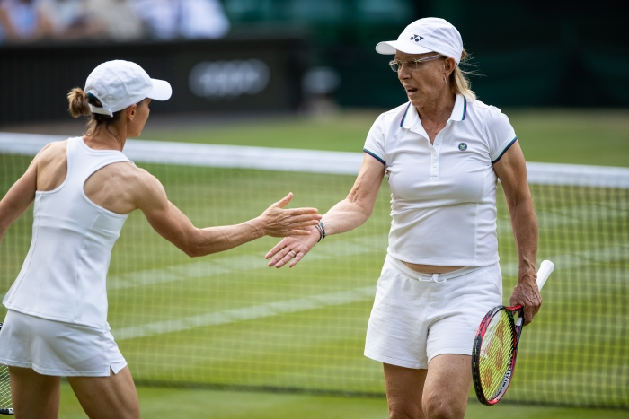 Women's tennis legend Martina Navratilova, right.  (Getty Images)