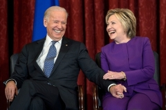 Vice President Joe Biden and former Secretary of State Hillary Clinton in 2016. (Photo by Brendan Smialowski/AFP via Getty Images)