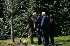 U.S. First Lady Melania Trump, President Donald Trump, Vice President Mike Pence and Karen Pence participate in a tree planting ceremony to mark Earth Day and Arbor Day on the South Lawn of the White House in Washington, DC on April 22, 2020. (Photo credit: MANDEL NGAN/AFP via Getty Images)