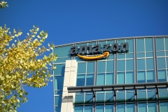 Featured is the Amazon logo atop an office building. (Photo credit: Lisa Werner/Contributor/Getty Images)