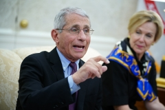 Dr. Anthony Fauci (L), director of the National Institute of Allergy and Infectious Diseases speaks next to Response coordinator for White House Coronavirus Task Force Deborah Birx. (Photo credit: MANDEL NGAN/AFP via Getty Images)