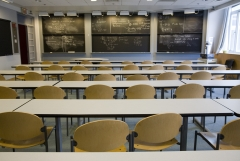 An empty classroom is featured. (Photo credit: James Leynse/Corbis via Getty Images)