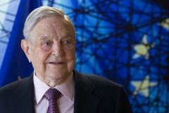 George Soros, Founder and Chairman of the Open Society Foundations arrives for a meeting in Brussels, on April 27, 2017. (Photo credit: OLIVIER HOSLET/AFP via Getty Images)