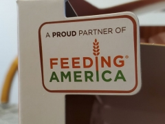 Close-up of logo for hunger charity Feeding America on product box, San Ramon, California, November 23, 2019. (Photo by Smith Collection/Gado/Getty Images)