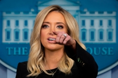White House Press Secretary Kayleigh McEnany holds her first press conference on May 1, 2020, in the Brady Briefing Room of the White House in Washington, DC. (Photo by JIM WATSON/AFP via Getty Images)