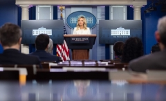 White House Press Secretary Kayleigh McEnany speaks during a briefing in the Brady Press Briefing Room of the White House in Washington, DC, May 6, 2020. (Photo by SAUL LOEB/AFP via Getty Images)