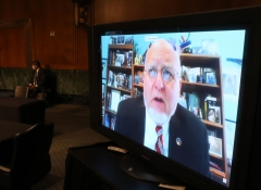 Dr. Robert Redfield, Director of the Centers for Disease Control and Prevention speaks remotely during the Senate Committee for Health, Education, Labor, and Pensions hearing to examine COVID-19 and Safely Getting Back to Work and Back to School on May 12, 2020 in Washington, DC. (Photo by WIN MCNAMEE/POOL/AFP via Getty Images)
