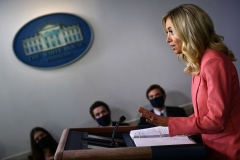 White House Press Secretary Kayleigh McEnany speaks to the press on May 20, 2020, in the Brady Briefing Room of the White House in Washington, DC. (Photo by BRENDAN SMIALOWSKI/AFP via Getty Images)