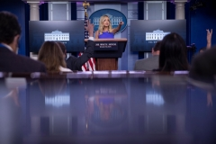 White House Press Secretary Kayleigh McEnany takes questions from reporters during a briefing at the White House May 28, 2020, in Washington, DC. (Photo by BRENDAN SMIALOWSKI/AFP via Getty Images)