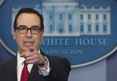U.S. Secretary of Treasury Steven Mnuchin speaks during the daily press briefing at the White House in Washington, D.C., January 11, 2018. (Photo credit: SAUL LOEB/AFP via Getty Images)