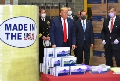 President Trump visits the medical supply distributor Owens and Minor Inc. in Allentown, Pennsylvania on Thursday. (Photo by Mandel Ngan/AFP via Getty Images)