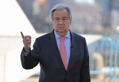 Secretary General Antonio Guterres visits the Ark of Return, a memorial to slavery, at the UN Headquarters in New York City, New York, March 9, 2020. (Photo credit: EuropaNewswire/Gado/Getty Images)