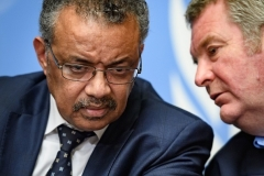 WHO Director-General Tedros Adhanom and head of the WHO emergencies program Michael Ryan. (Photo by Fabrice Coffrini/AFP via Getty Images)