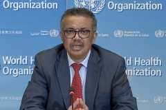 WHO Chief Tedros Adhanom Ghebreyesus attends a virtual news briefing on COVID-19 (novel coronavirus) from the WHO headquarters in Geneva on April 6, 2020. (Photo credit:-/AFP via Getty Images)