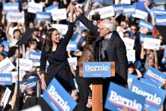 Rep. Alexandria Ocasio-Cortez (D-N.Y.) endorses 2020 democratic presidential candidate Bernie Sanders at a campaign rally in Queens, N.Y. on October 19, 2019. (Photo by Bauzen/GC Images)