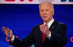 Joe Biden explains his stand on the issues at the March 15, 2020 debate hosted by CNN in Washington, D.C. (Photo by Mandel NGAN/AFP via Getty Images)