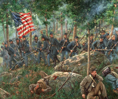 """Charge of the 20th Maine"" Joshua L. Chamberlain leading the 20th Maine Regiment on Little Round Top. Painting by Mark Maritato, from fineartamerica.com."