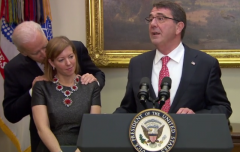 Biden nuzzles Stephanie Carter at her husband Ash Carter's swearing-in ceremony in 2015. (Photo: Screen capture)