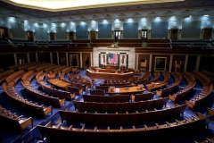 An empty House of Representives Chamber on Capitol Hill. (Photo by Brooks Kraft LLC/Corbis via Getty Images)