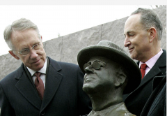 Then-Senate Minority Leader Harry Reid (D.-Nev.) and Sen. Charles Schumer (D.-N.Y.) at the FDR Memoria, Feb. 3, 2005. (Photo by Mark Wilson/Getty Images)