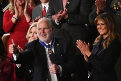 Conservative icon Rush Limbaugh, recently diagnosed with advanced lung cancer, receives the Medal of Freedom at President Trump's 2020 State of the Union address on February 4. (Photo by MANDEL NGAN/AFP via Getty Images)