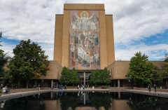 The Word of Life Mural is seen on the Hesburgh Library on the Notre Dame campus in South Bend, Indiana. (Photo by Michael Hickey/Getty Images)