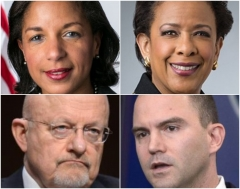 During the Obama administration, Ambassador Susan Rice, Attorney General Loretta Lynch, Deputy National Security adviser Ben Rhodes, and Director of National Intelligence James Clapper. (Getty Images)