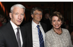Nancy Pelosi with Anderson Cooper and Bill Gates at Together To End AIDS: An Evening to Benefit afAR and GBCHealth at John F. Kennedy Center for Performing Arts, Washington, D.C., July 21, 2012. (Photo by Paul Morigi/Getty Images)