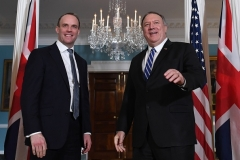 Secretary of State Mike Pompeo and British Foreign Secretary Dominic Raab. (Photo by Eric Baradat/AFP via Getty Images)