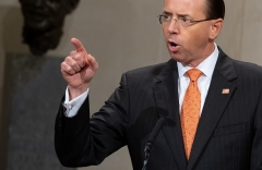 "Former Deputy Attorney General Rod Rosenstein specified the ""scope"" of Robert Mueller's investigation in August 2017. (Photo by SAUL LOEB/AFP via Getty Images)"