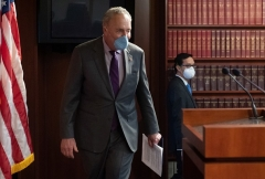 Senate Minority Leader Chuck Schumer (D-N.Y.) wears a mask for his press conference on May 5, 2020. (Photo by SAUL LOEB/AFP via Getty Images)