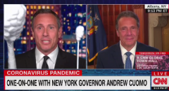 "Chris Cuomo jokes about the swab size used on the governor's ""double-barrel shotgun"" of a nose. (Photo: Screen capture)"