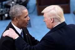 "President Barack Obama shakes handds with Donald Trump at Trump's inauguration on Jan. 20, 2017. At the same time, Obama's National Security Advisor Susan Rice was writing a memo back at the White House, saying Obama -- at a Jan. 5 meeting -- had stressed his commitment to ""ensuring that every aspect of this issue (apparently the FBI/Flynn issue) is handled by the Intelligence and law enforcement communities 'by the book'.  (Photo by BRENDAN SMIALOWSKI/AFP via Getty Images)"