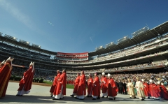 Bishops arrive for Pope Benedict XVI mass celebration at Nationals Stadium in Washington, D.C. (Photo credit: VINCENZO PINTO/AFP/Getty Images)