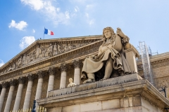 The statue of Jean-Baptiste Colbert, alongside the French National Assembly in Paris. (Photo by Edward Berthelot/Getty Images)