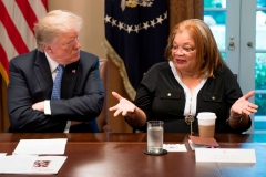 US President Donald Trump listens to Dr. Alveda King, niece of Dr. Martin Luther King Jr., during a meeting with inner city pastors at the White House in Washington, DC,on August 1, 2018. - President Trump delivered remarks at the roundtable discussion with several inner city pastors, and discussed the Administrations efforts on prison reform and other policy initiatives to improve Americans in inner cities. (Photo by JIM WATSON/AFP via Getty Images)