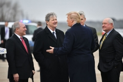President Donald Trump greets Rep. Steve Scalise(L) R-LA, Sen. John Kennedy(C) R-LA and Secretary of Agriculture Sonny Perdue(R),upon arrival at Louis Armstrong New Orleans International Airport in Kenner, Louisiana on January 14, 2019. (Photo credit should read MANDEL NGAN/AFP via Getty Images)