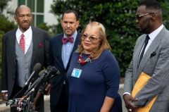 Alveda King (2R), niece of Dr. Martin Luther King Jr., speaks following a meeting with US President Donald Trump and other faith-based inner-city leaders at the White House in Washington, DC on July 29, 2019. (Photo credit should read SAUL LOEB/AFP via Getty Images)