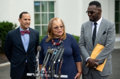 Alveda King (C), niece of Dr. Martin Luther King Jr., speaks following a meeting with US President Donald Trump and other faith-based inner-city leaders at the White House in Washington, DC on July 29, 2019. (Photo by SAUL LOEB/AFP via Getty Images)