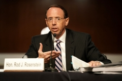 "Former Deputy Attorney General Rod Rosenstein testifies during a Republican-led Senate Judiciary Committee hearing on ""Crossfire Hurricane"", the FBI's probe into Russian election interference and the 2016 Trump campaign in the Dirksen Senate Office Building in Washington, DC,on June 3, 2020. (Photo by GREG NASH/POOL/AFP via Getty Images)"