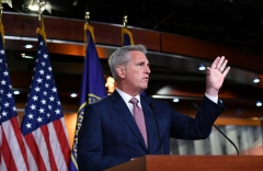US House Minority Leader, Kevin McCarthy, Republican of California, holds his weekly press briefing on Capitol Hill in Washington, DC, on June 11, 2020. (Photo by MANDEL NGAN/AFP via Getty Images)