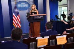 White House Press Secretary Kayleigh McEnany speaks to the press on June 19, 2020, in the Brady Briefing Room of the White House in Washington, DC. (Photo by NICHOLAS KAMM/AFP via Getty Images)