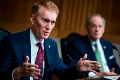"Sen. James Lankford, R-OK, directs a question to Mark A. Morgan, acting commissioner of the US Customs and Border Protection, during the Senate Homeland Security and Governmental Affairs hearing titled ""CBP Oversight: Examining the Evolving Challenges Facing the Agency"", in the Dirksen Senate Office Building on June 25, 2020 in Washington,DC. (Photo by TOM WILLIAMS/POOL/AFP via Getty Images)"