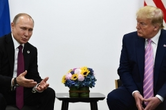 President Trump and Russian President Vladimir Putin at a G20 summit in Osaka in June 2019. (Photo by Brendan Smialowski/AFP via Getty Images)