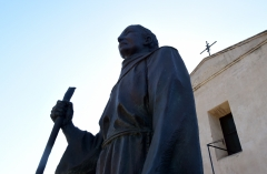 A statue of Father Junipero Serra stands in front of the San Gabriel Mission in San Gabriel, California on September 23, 2015 as a visiting Pope Francis made the controversial Spanish missionary a saint. (Photo credit: FREDERIC J. BROWN/AFP via Getty Images)