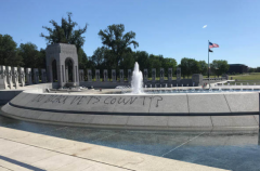 A photo shared by the Friends of the National World War II Memorial shows spray-paint vandalism. (Photo from @WWIIMEMORIAL/Twitter)
