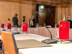 U.S. envoy for arms control Marshall Billingslea posted on his Twitter feed a photo of empty Chinese places at the U.S.-Russia arms control talks in Vienna. (Photo: @USArmsControl/Twitter)